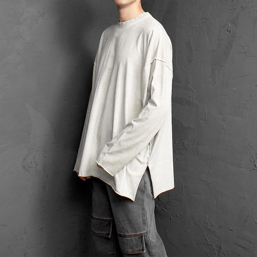 Oversized Vintage Washed Split Side Long Sleeve Tee 1354