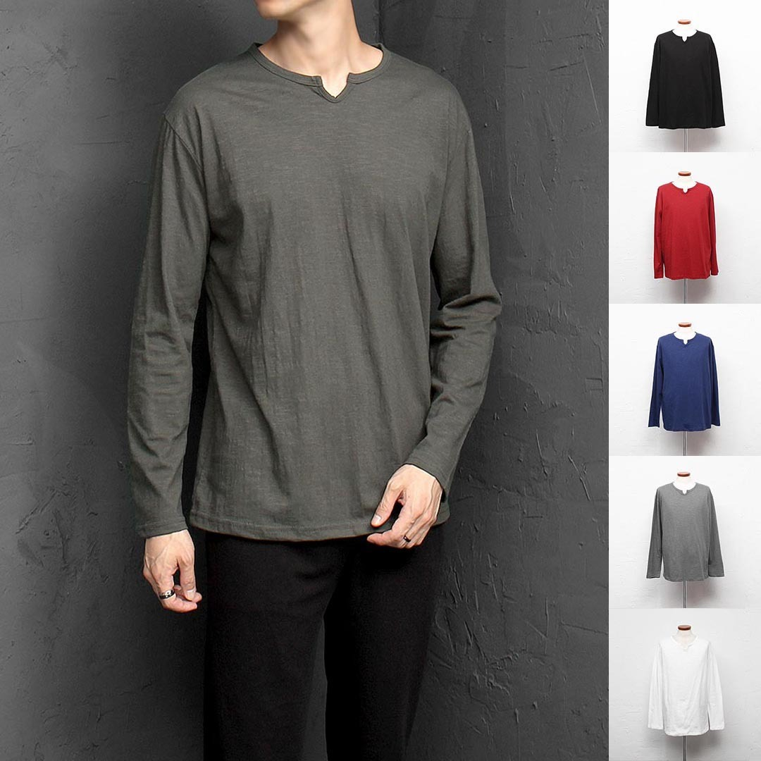 Neck Split Point Long Sleeve Tee 1335