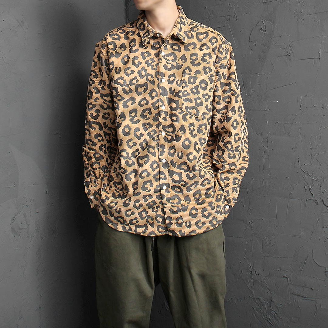 Oversized Loose Fit Leopard Pattern Corduroy Shirt 1452