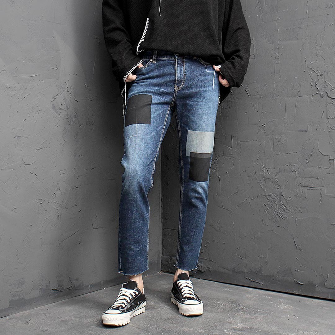 Block Washed Styling Blue Skinny Jeans 1454