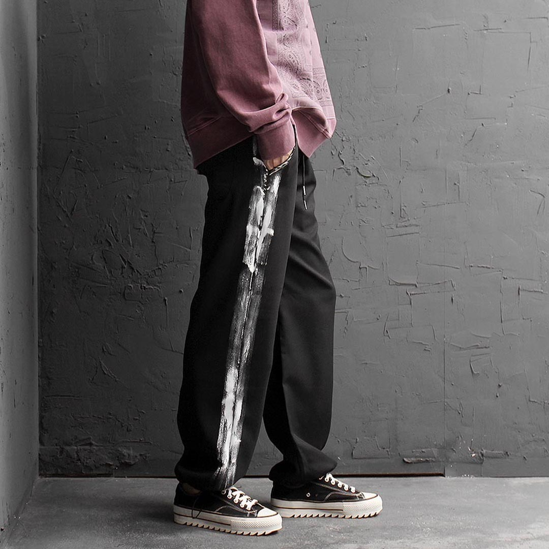 Side Painted Drawstring Hem Sweatpants 1439