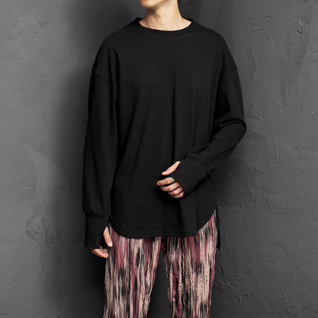 Unbalanced Split Side Hem Hand Warmer Tee 1360