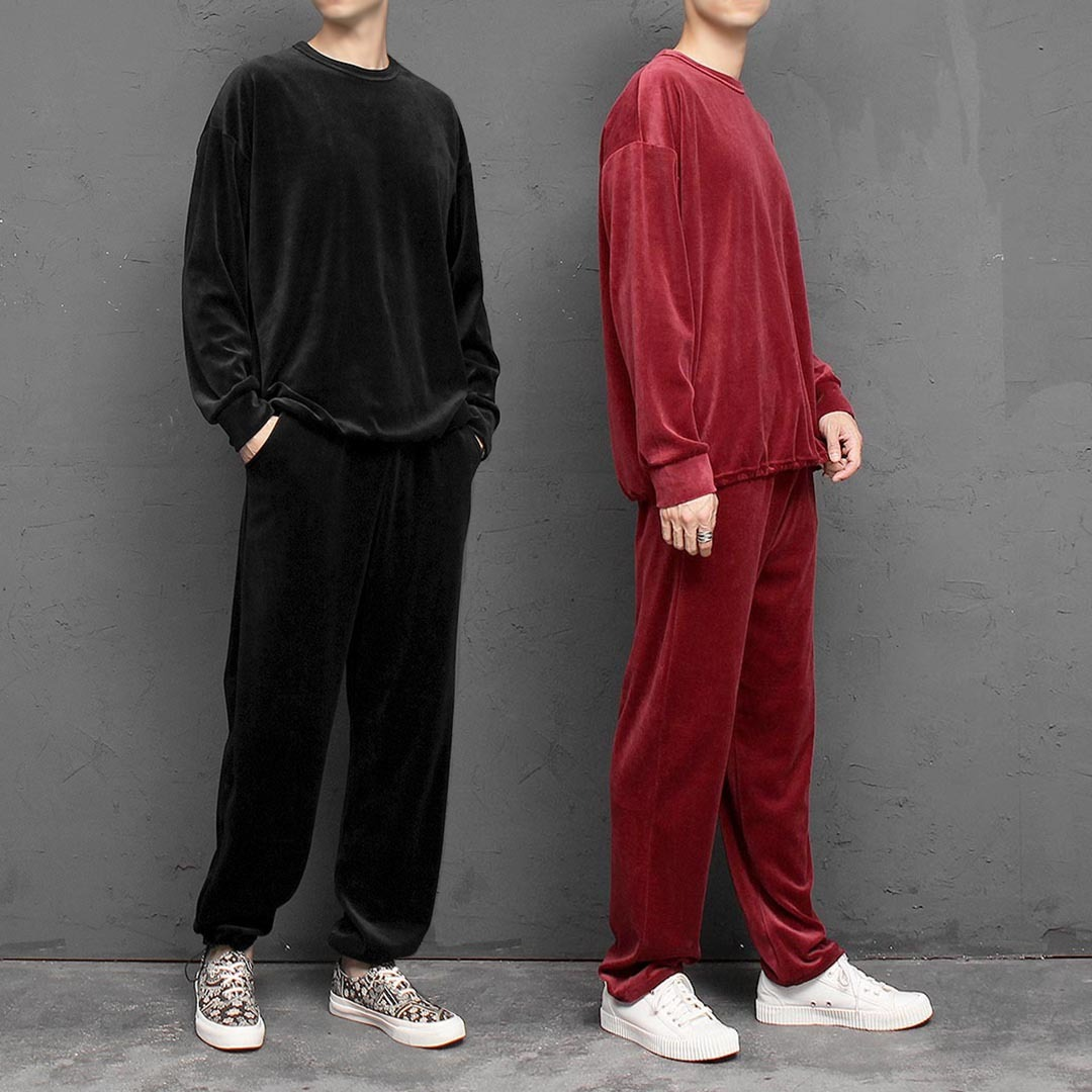 Loose Fit Drawstring Velvet Sweatshirt Joggers Set 1474