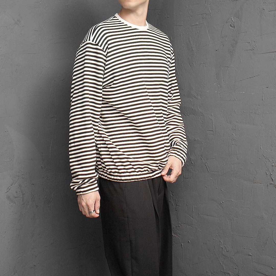 Striped Pattern Elastic Band Sweatshirt 1385