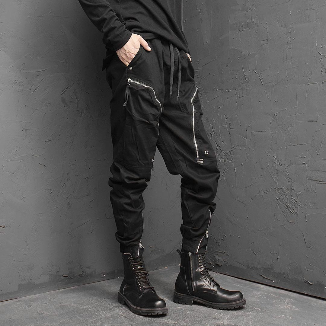 Techwear Look Line Zipper Pocket Joggers 1445