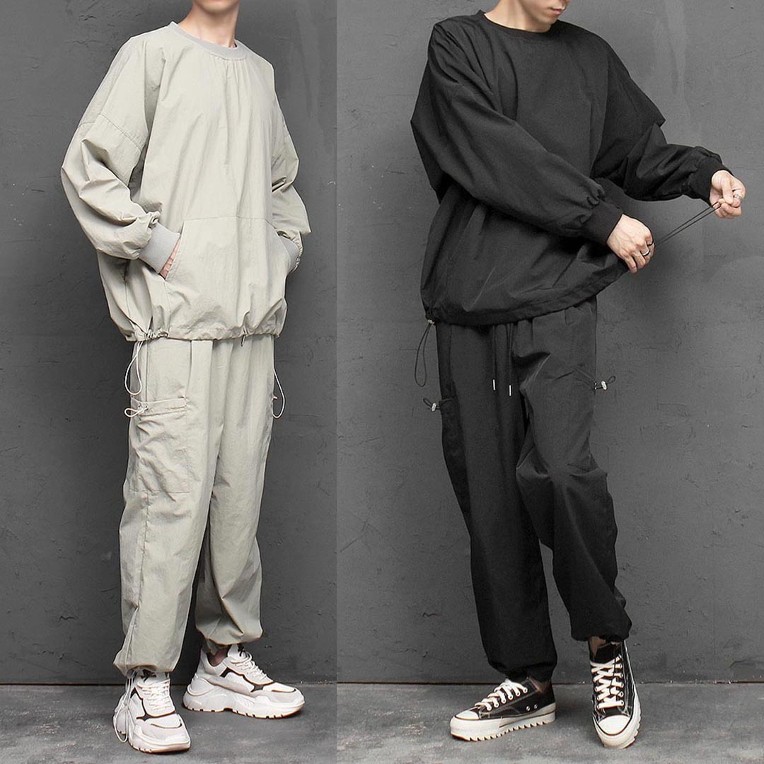 Loose Fit Drawstring Jersey Sweatshirt Joggers Set 1382