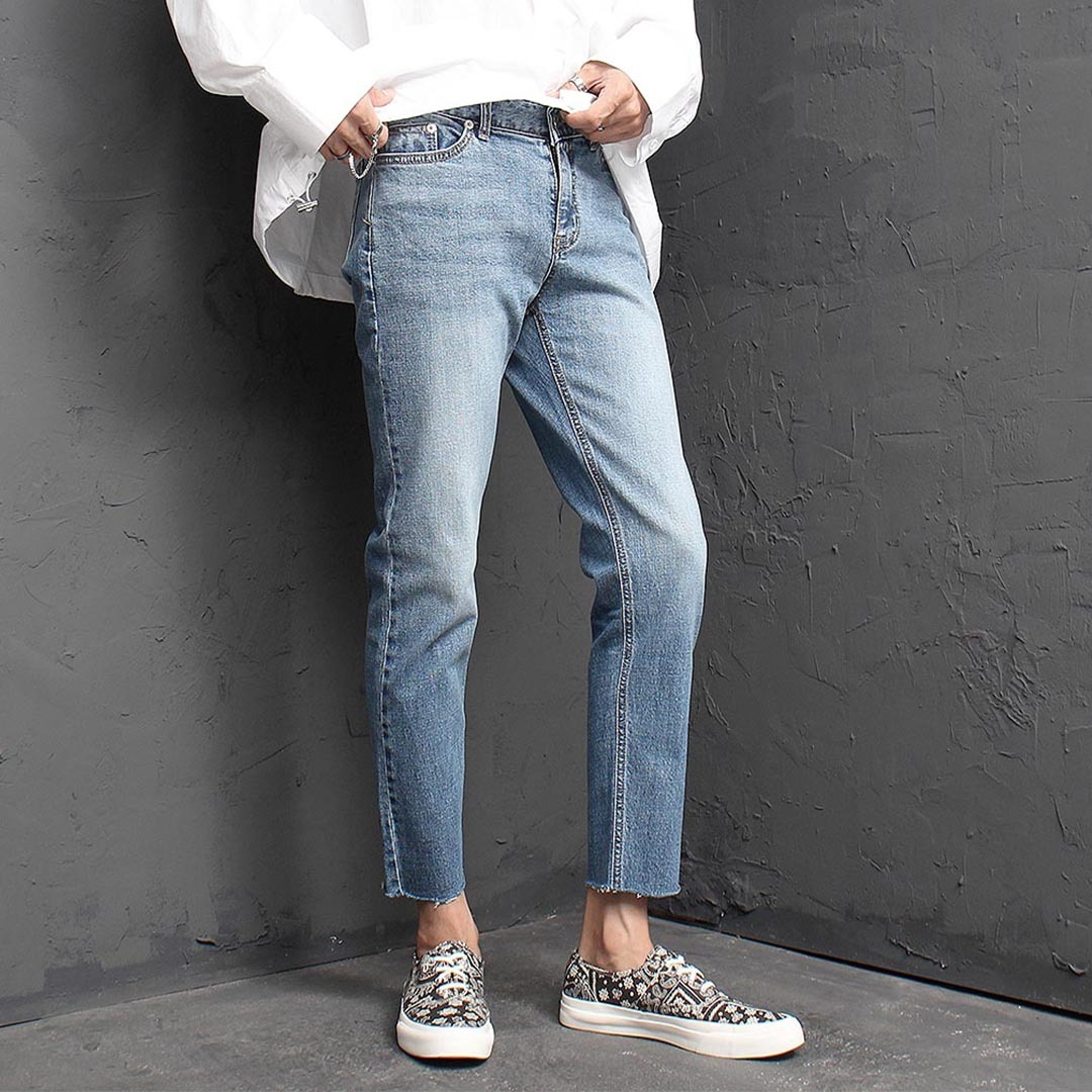Vintage Cut Off Styling Blue Skinny Jeans 1383
