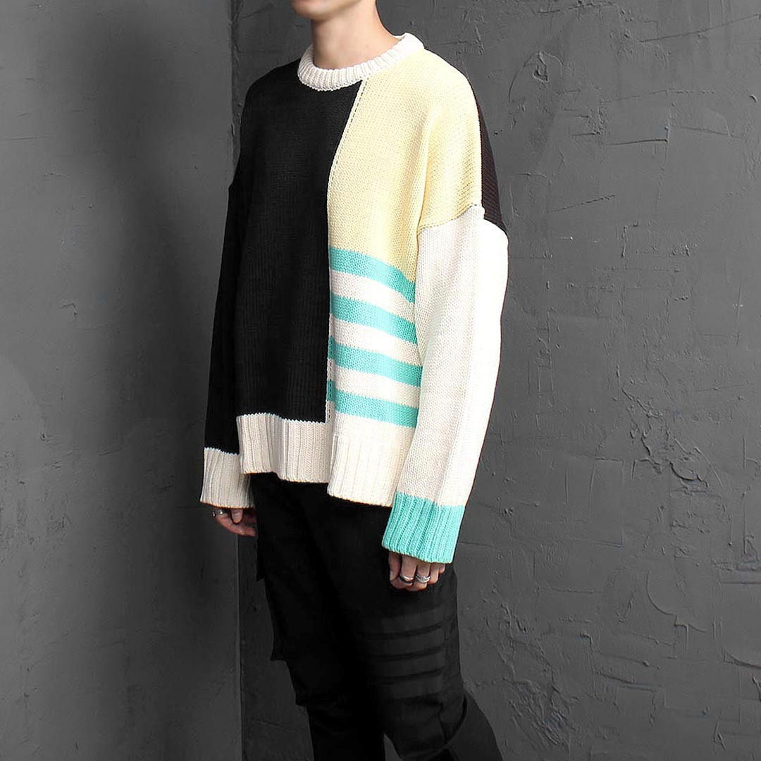 Loose Fit Contrast Crew Neck Knit Jumper 1545