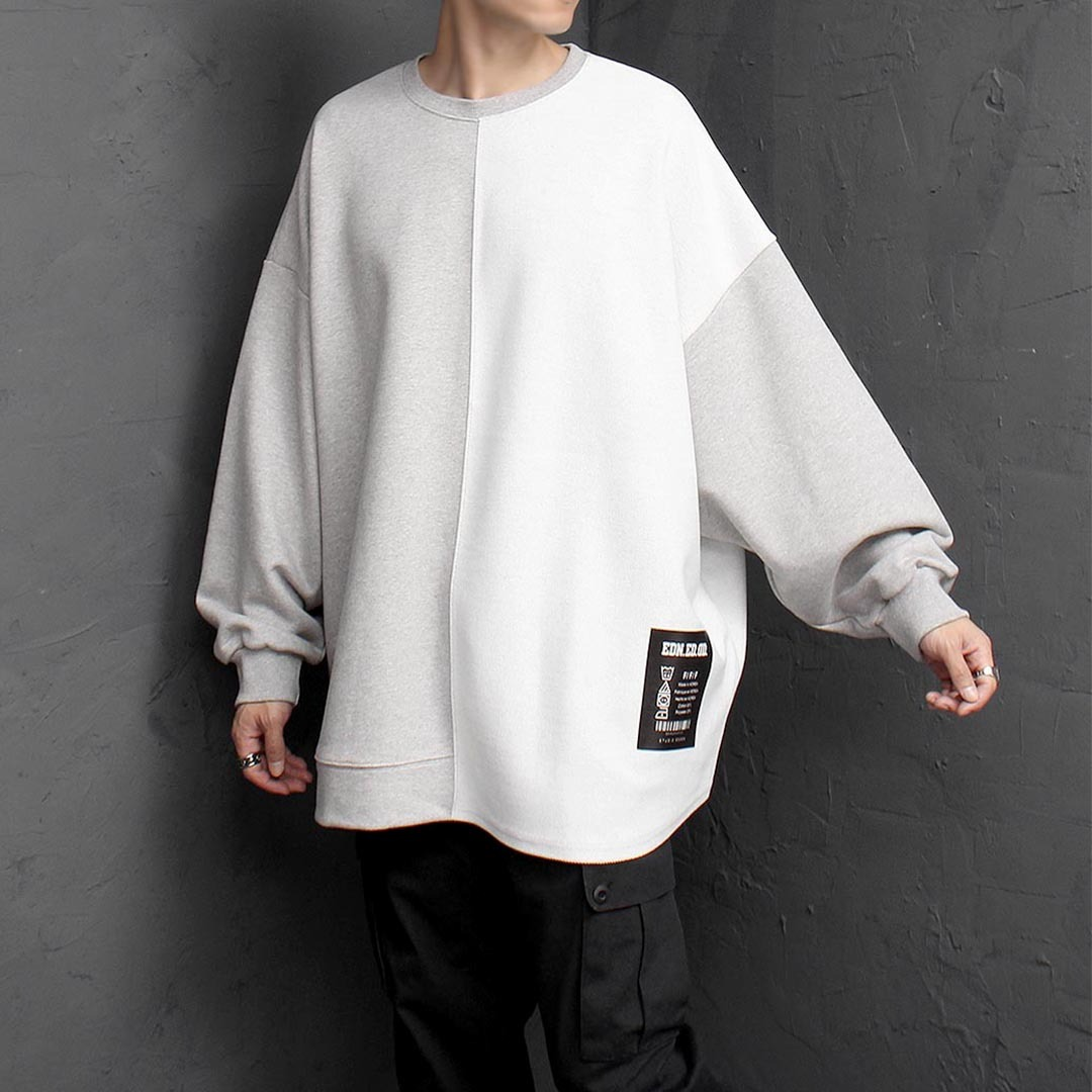 Oversized Fit Contrast Half Reversed Sweatshirt 1494