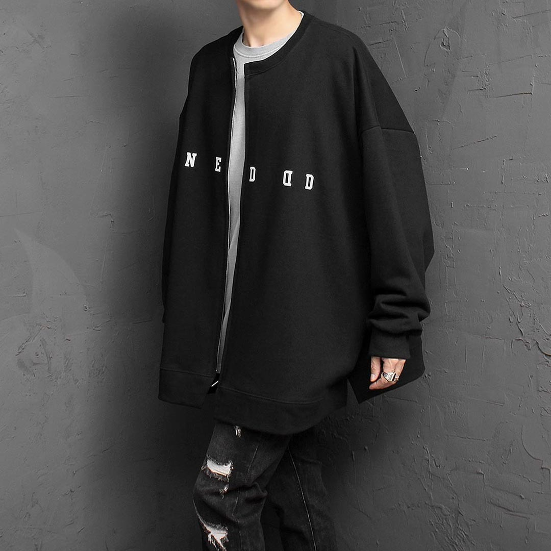 Oversized Wide Zip Up Long Sleeve Tee 1475