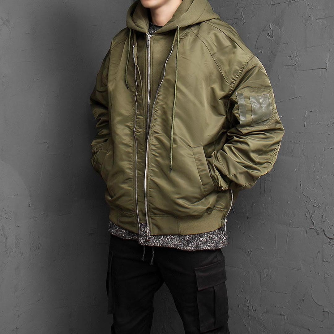 Removable Hood Military Bomber Jacket 1538
