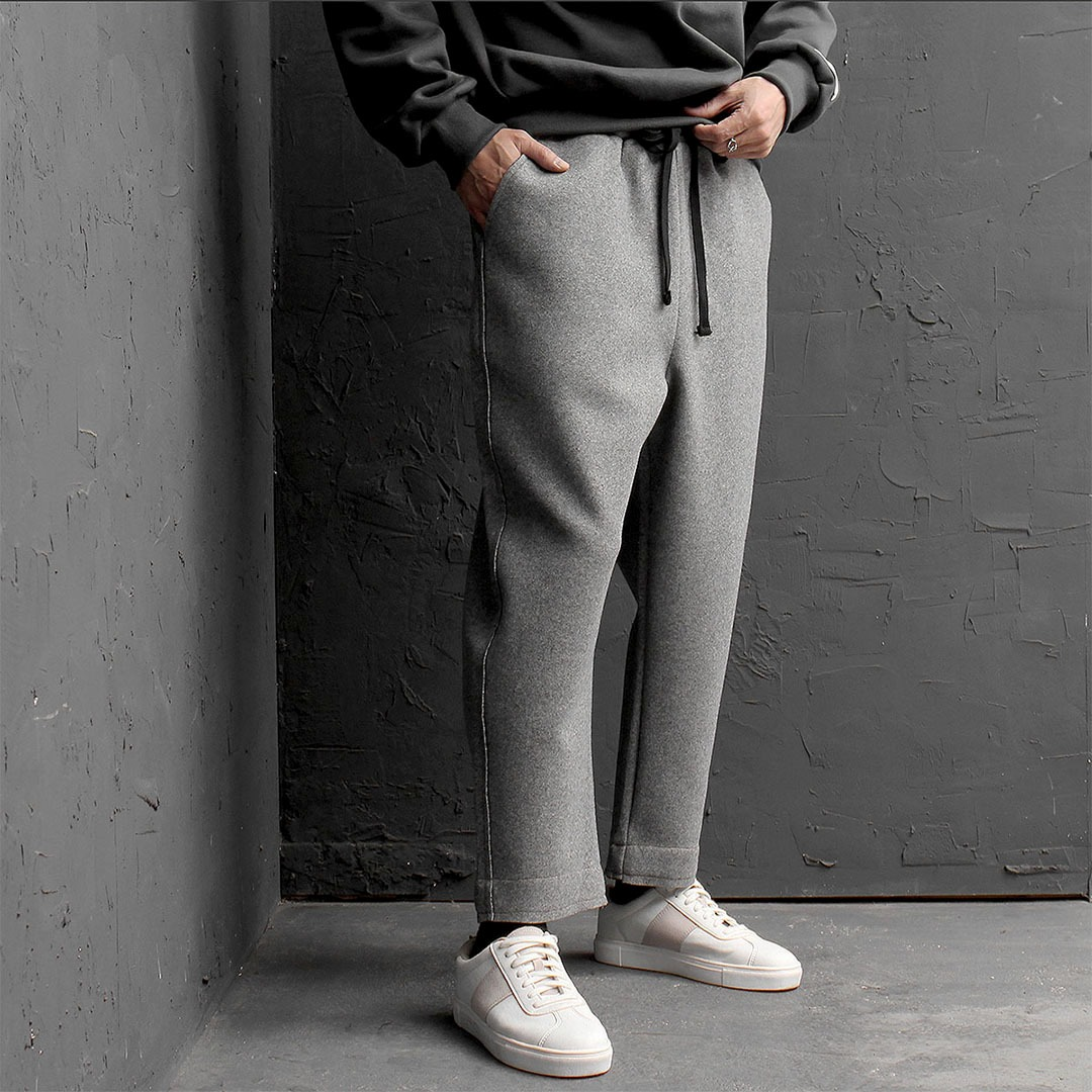 Elastic Waistband Low Crotch Wool Sweatpants 741