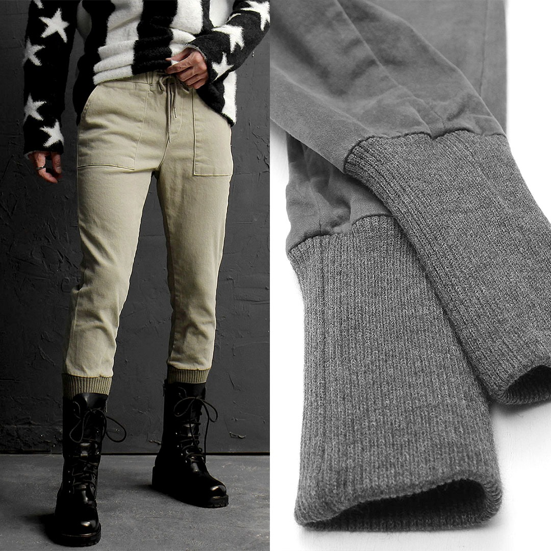 Slim Fit Vintage Washed Long Ribbed Hem Joggers 761