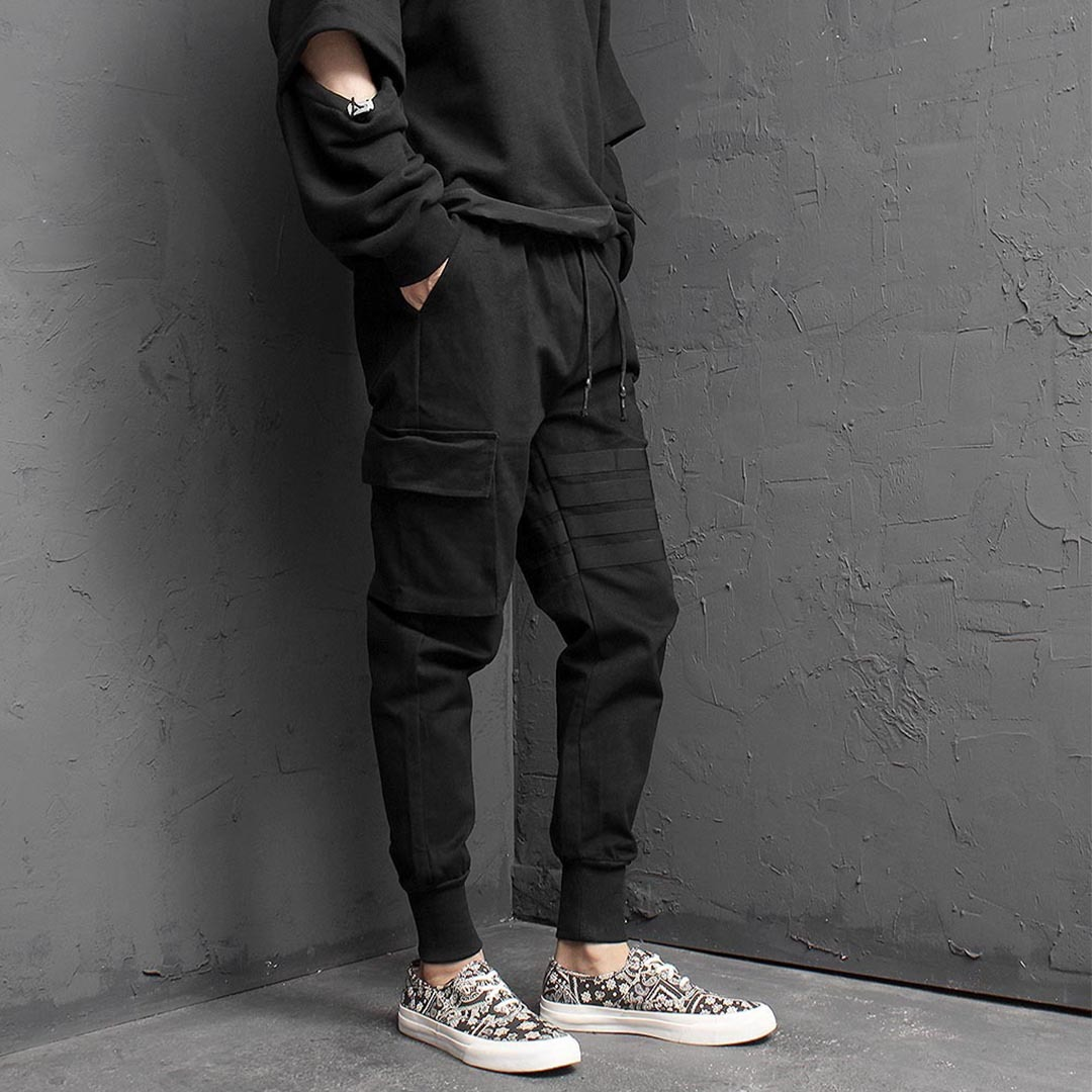 Unbalanced Striped Point Cargo Joggers 1491
