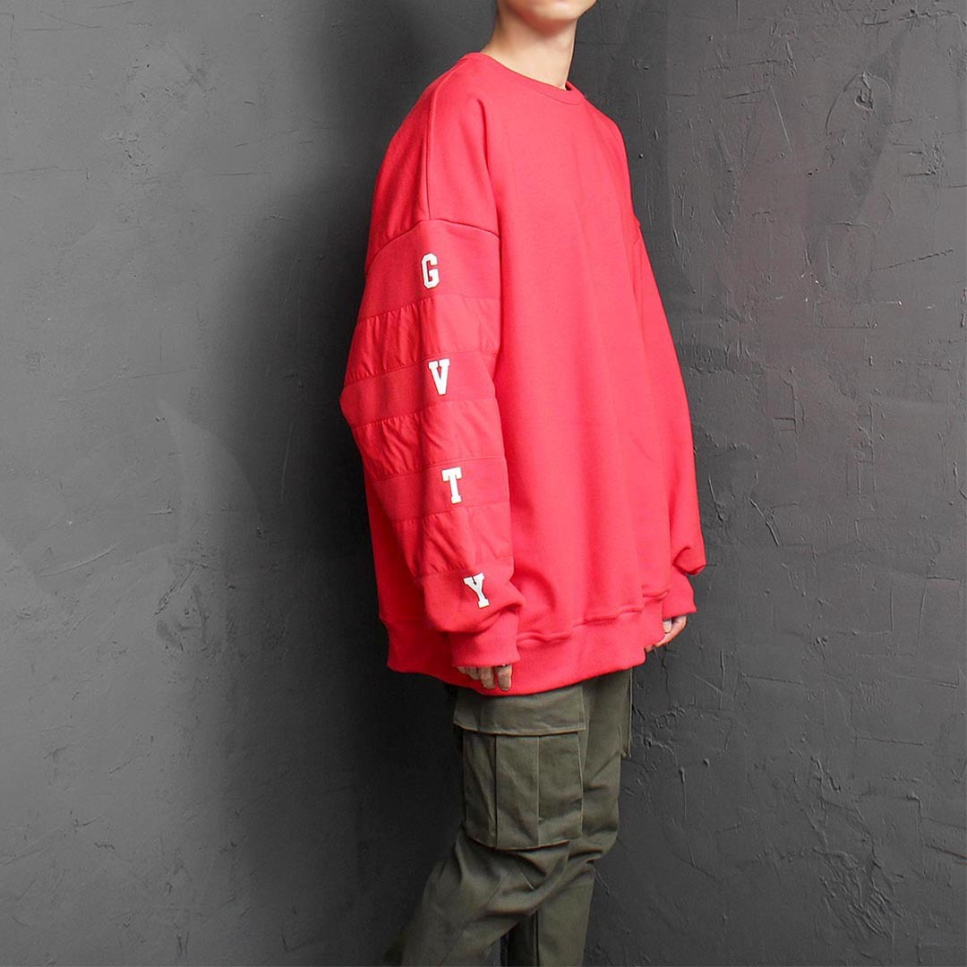 Oversized Fit Unbalanced Contrast Sleeve Sweatshirt 1486