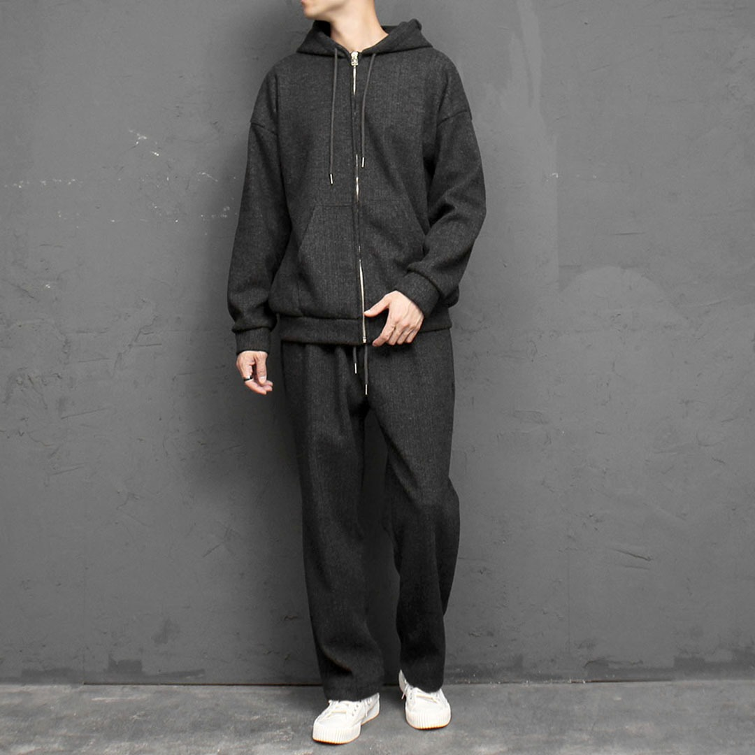 Dense Knit Zip Up Hoodie Sweatpants Set 1681