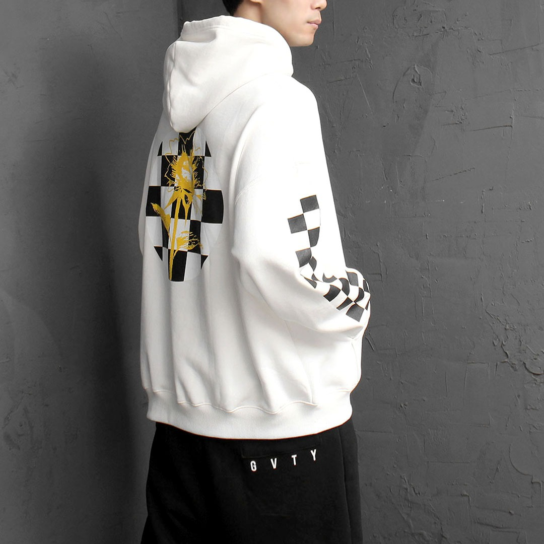 Flower Check Fleecy Interior Hoodie 1678