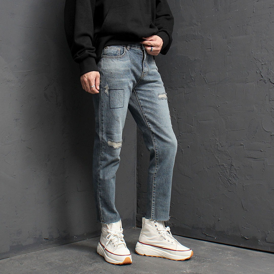 Vintage Cut Off Styling Blue Skinny Jeans 1615