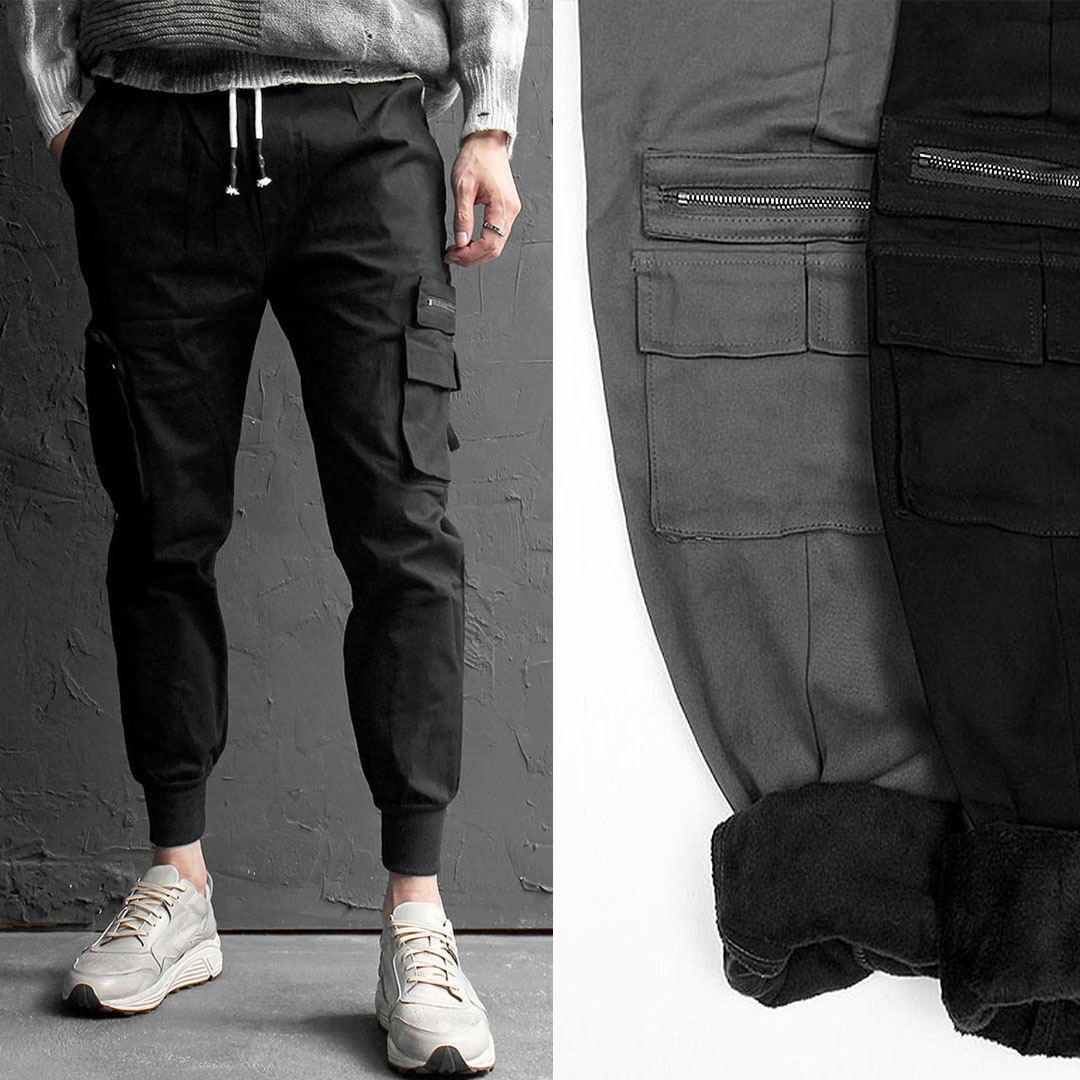 Zipper Cargo Pocket Elastic Waistband Jogger Pants 1642