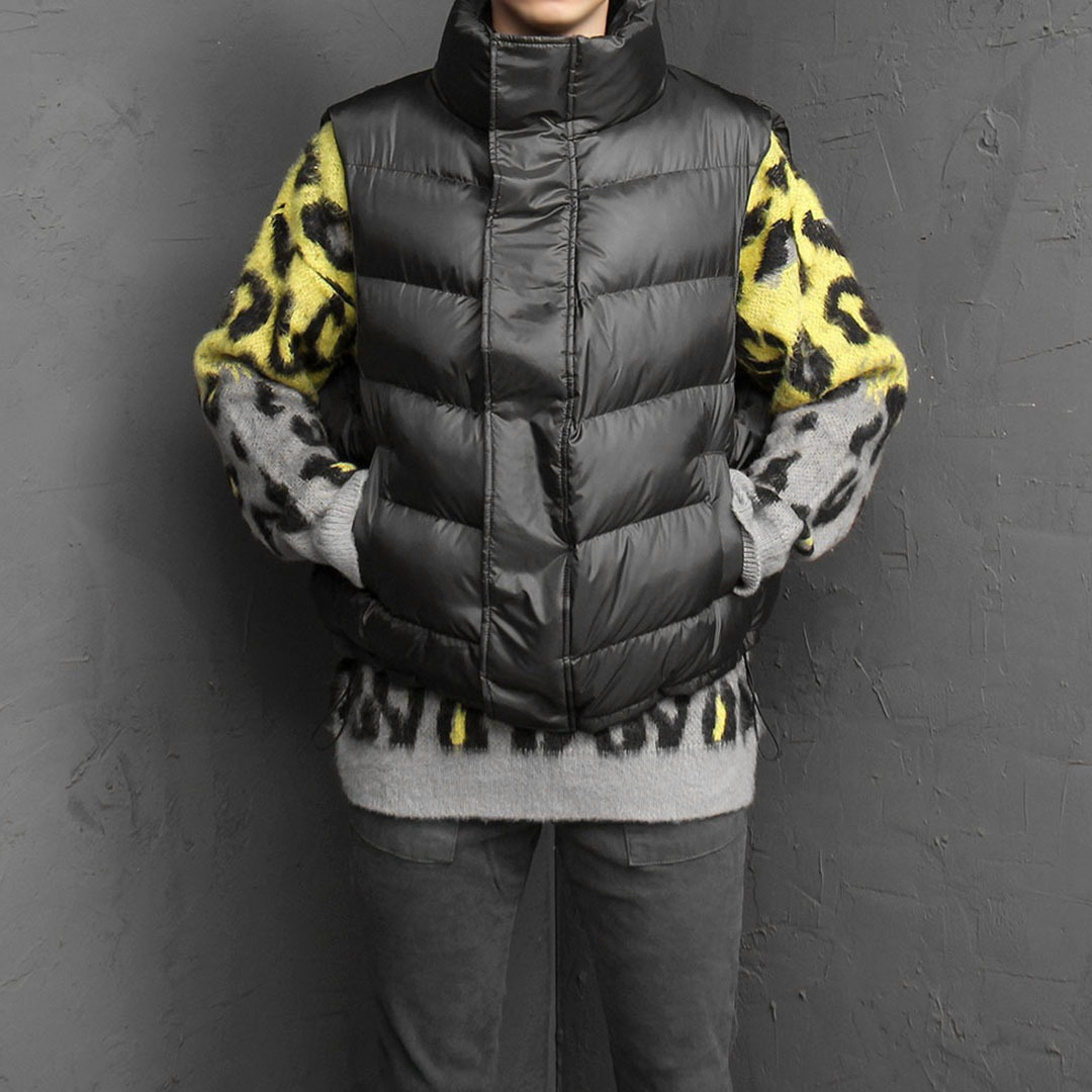 Diagonal Zipper Duck Down Padded Vest 1645