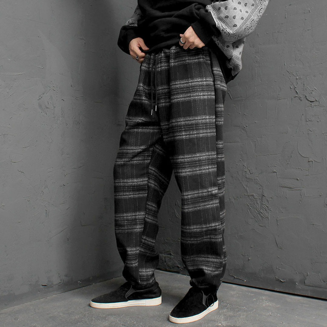 Check Wool Drawstring Hem Pants 1693