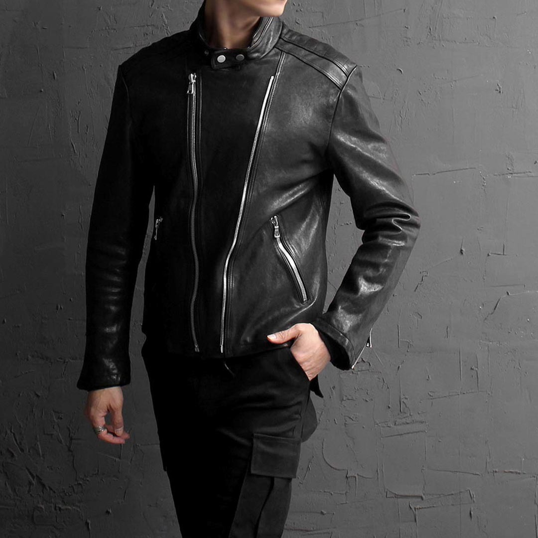 China Neck Double Zipper Leather Rider Jacket 1635