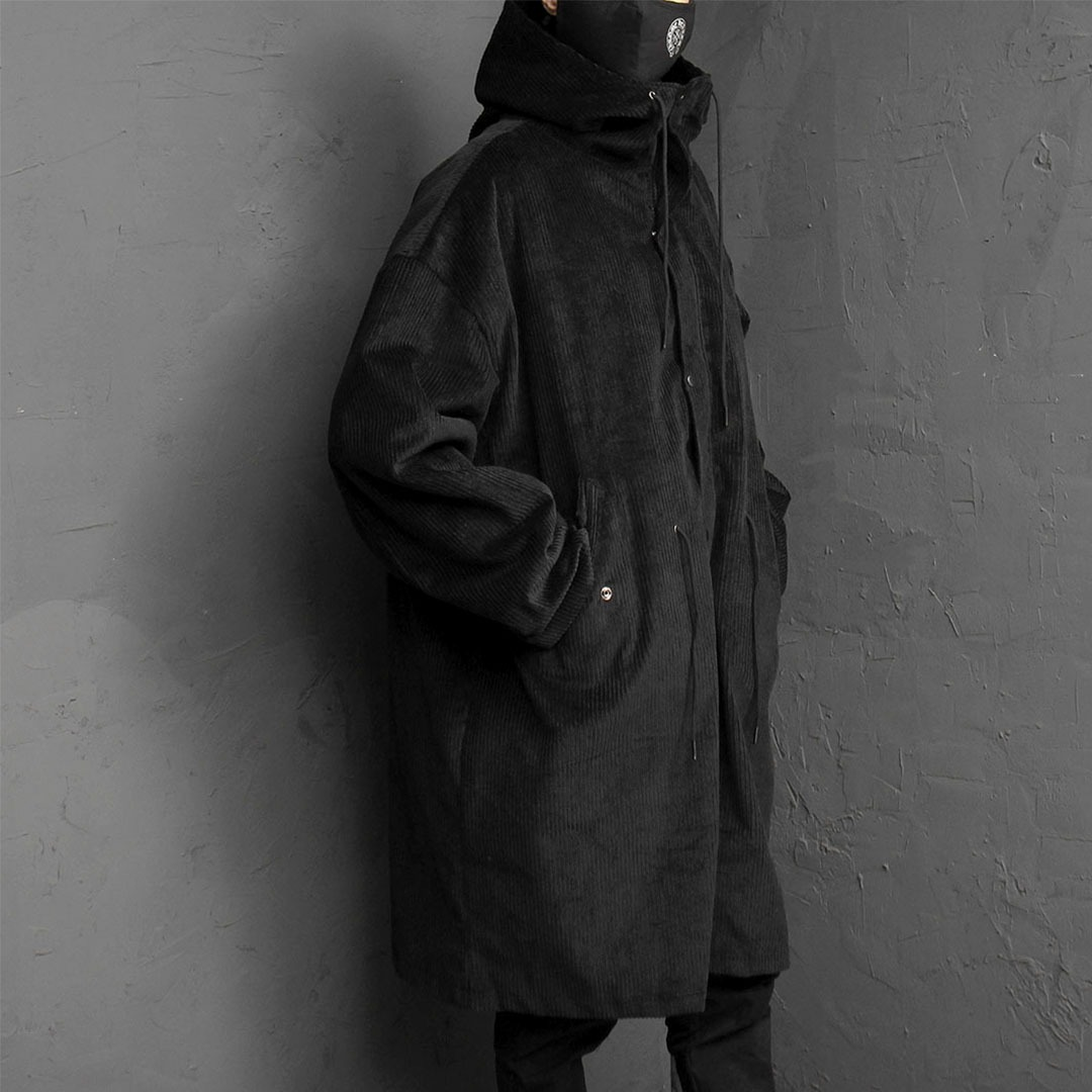 Black Corduroy Hood Long Jacket 1714