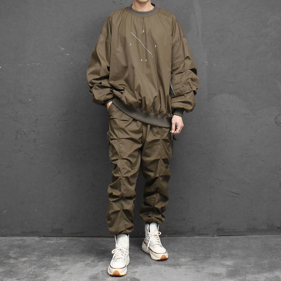 Oversized Fit Military Pocket Gym Wear Set 1756