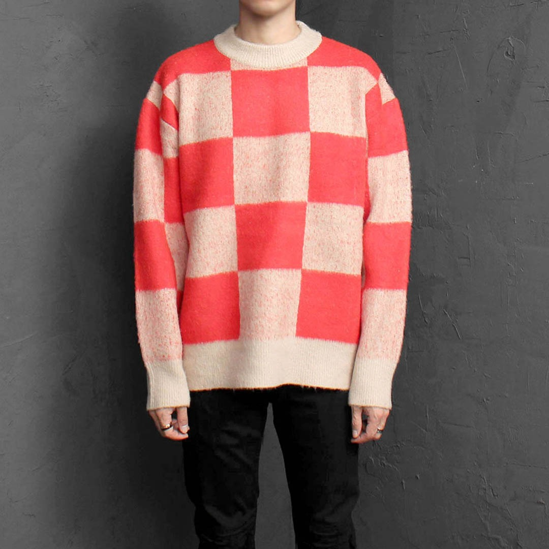 Check Pattern Knit Sweatshirt 1758