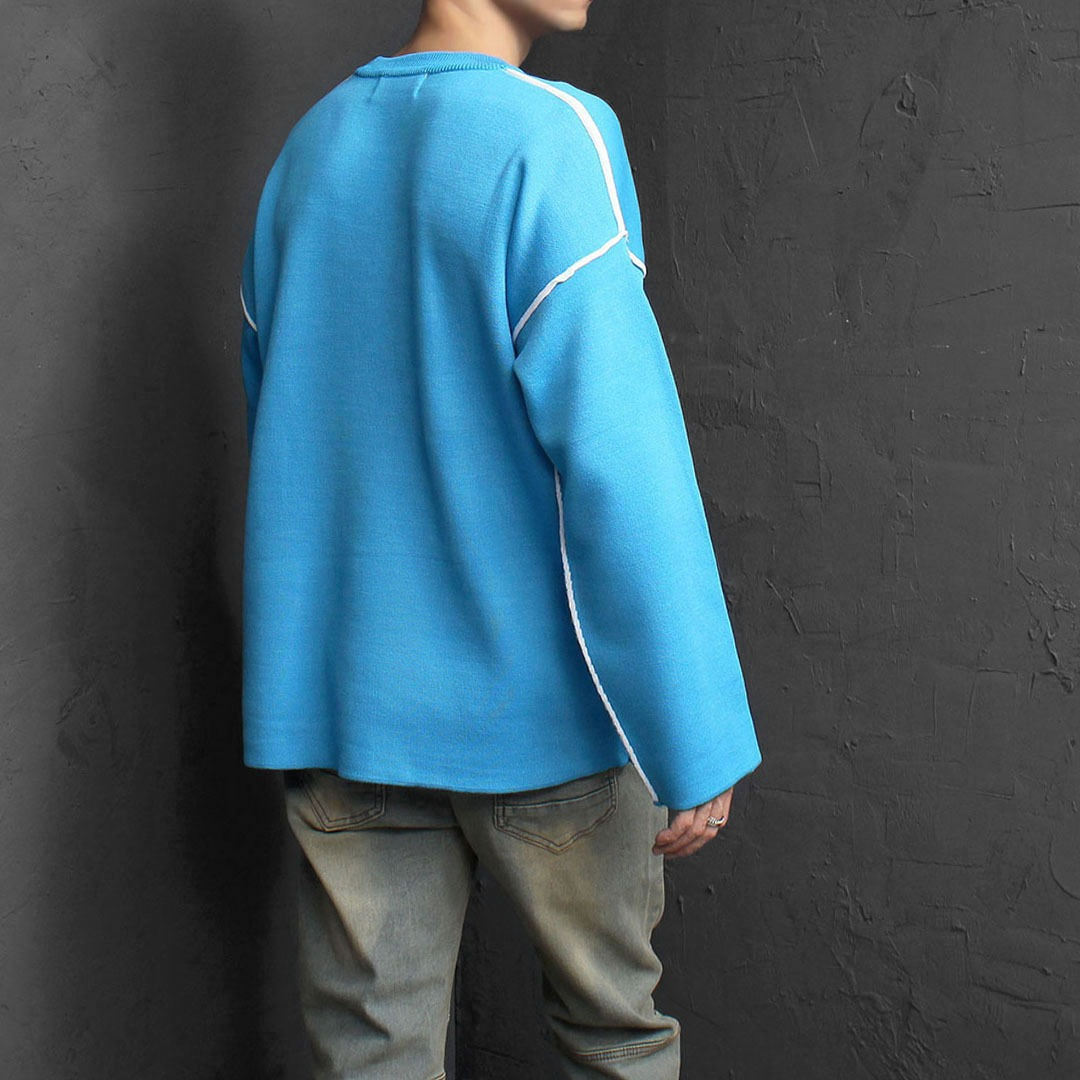 Oversized Fit Vintage Line Knit Tee 1803