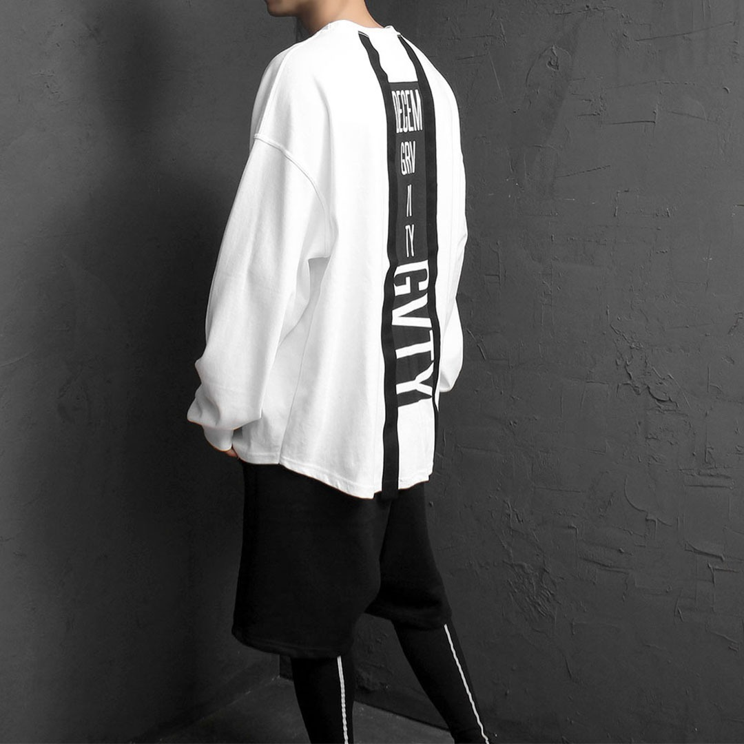 Back Printing Oversized Fit Long Sleeve Tee 1859