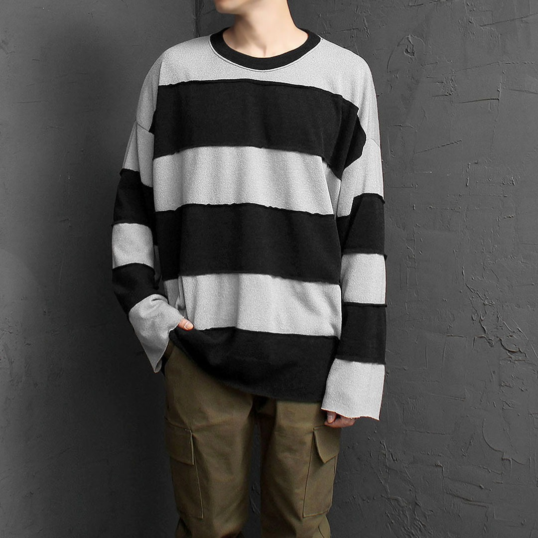 Oversized Fit Vintage Striped Knit Tee 1847