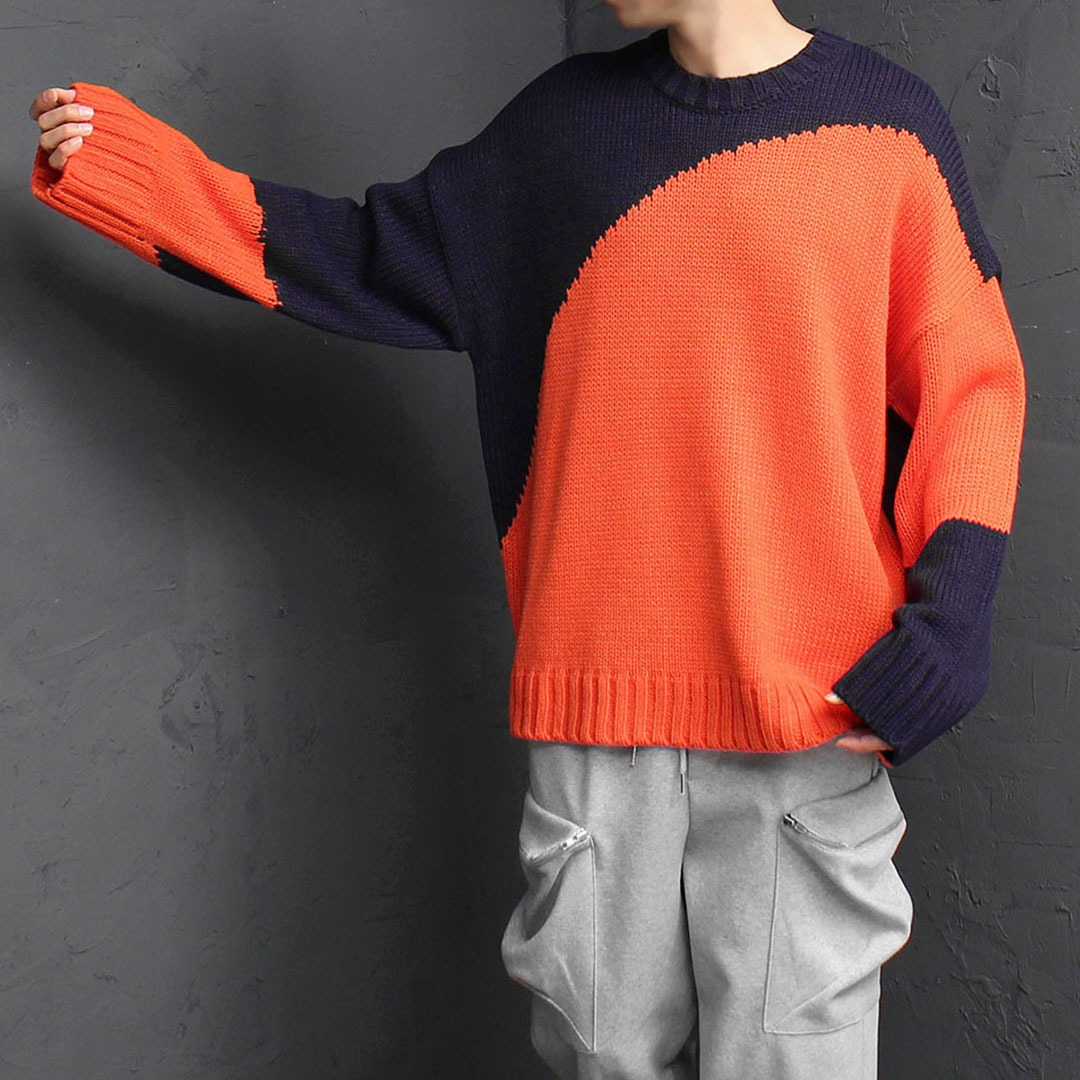 Oversized Fit Unbalanced Circle Printing Knit Tee 1851