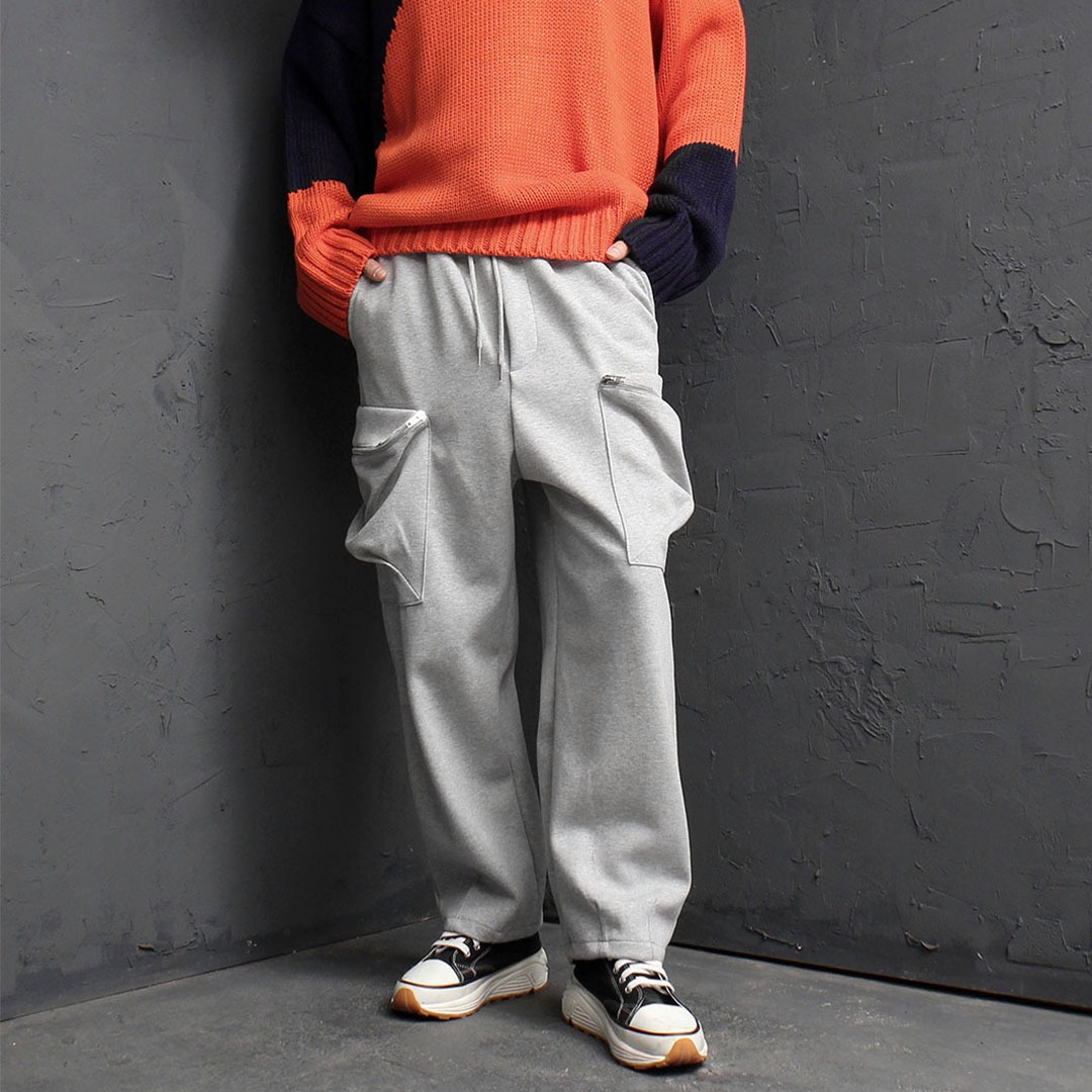 Wide Zipper Cargo Sweatpants 1879