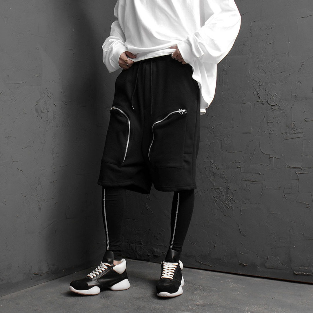 Leggings Layered Zipper Cargo Shorts 1853
