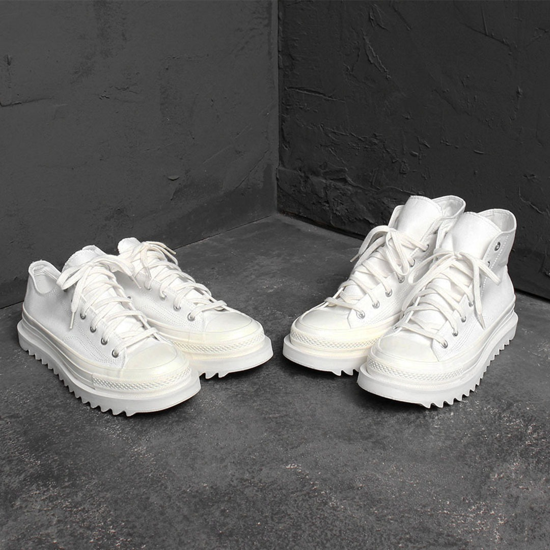 All White Platform Canvas Sneakers 1988