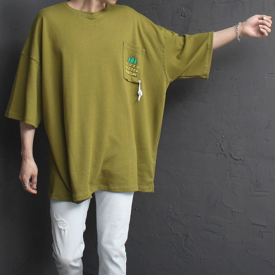 Oversized Fit Logo Printing Strap Pocket Tee 2014