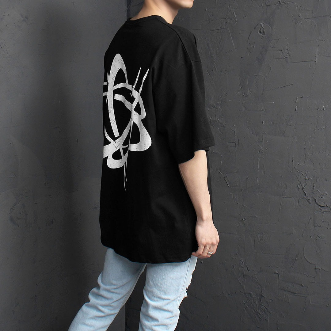 Loose Fit Back Crack Logo Printing Tee 2043