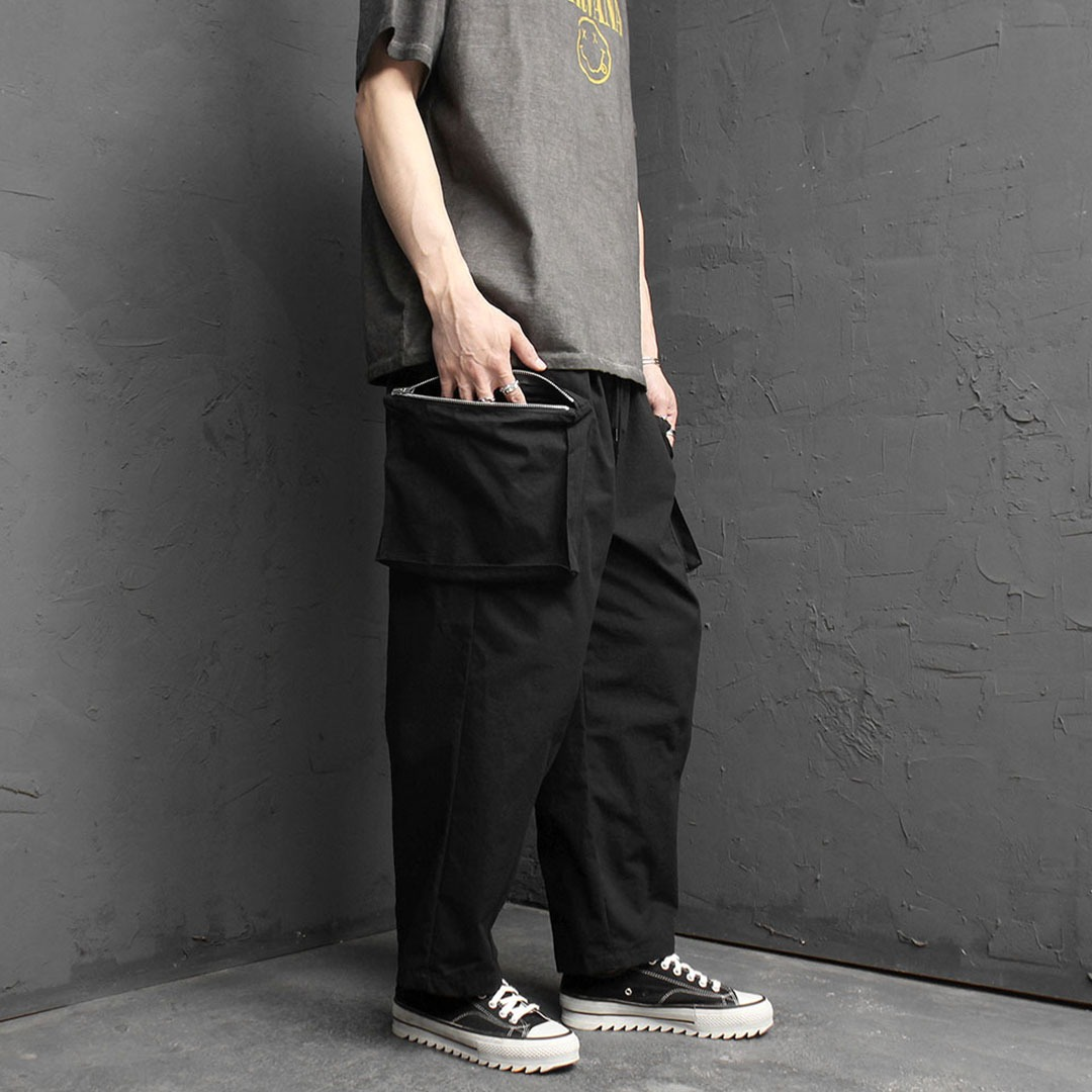Wide Zipper Cargo Pocket Baggy Pants 2071