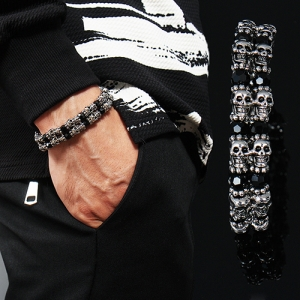 3D Skull Double Line Black Beads Stretch Bracelet 157