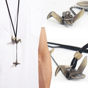 Origami Birds Pendant Leather Strap Necklace 34