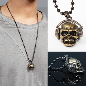 Gothic Gold Silver Tone Steel Skull Headset Necklace 36