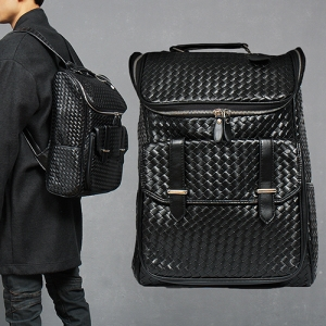 Black Faux Leather Weave Pattern Zip Pocket Backpack