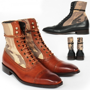 Handmade Leather Almond Toe Camouflage Lace Up High Top Boots 3764