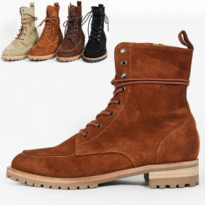 Handmade High Top Zip Closure Suede Leather Color Boots 3557-1
