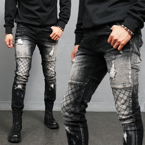 Black Quilted Seaming Ribbed Knee Biker Skinny Jeans 181
