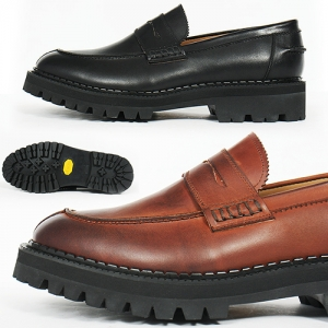 Handmade Classic Moc Toe Leather Vibram Sole Penny Loafers 5552