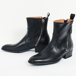 Handmade Double Diagonal Zipper Black Leather Boots 5432
