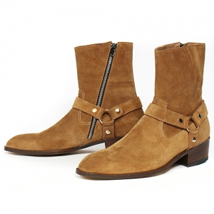 Handmade High Top Belted Light Brown Long Boots 5386
