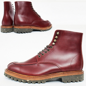 Handmade High Top Split Toe Reddish Brown Leather Boots 5403